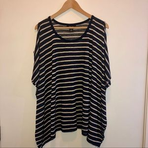 Style & Co Stripe Poncho Top with Cold Shoulders